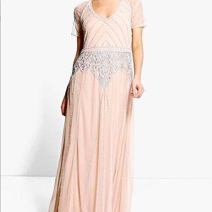 Boohoo NWT beaded maxi dress/ bridesmaid dress